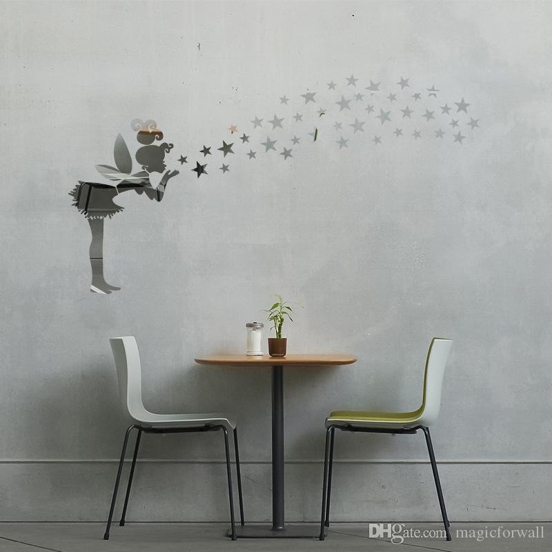 3d الجنية مع السحر نجوم مرآة جدار الفن صائق ملصقا الاطفال نوم جدار الفن الديكور فتاة صغيرة مع الجناح الإبداعية مرآة ملصقا