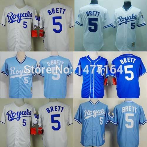 reputable site 6e72d 4bcc8 kansas city royals 5 george brett 1989 white throwback jersey