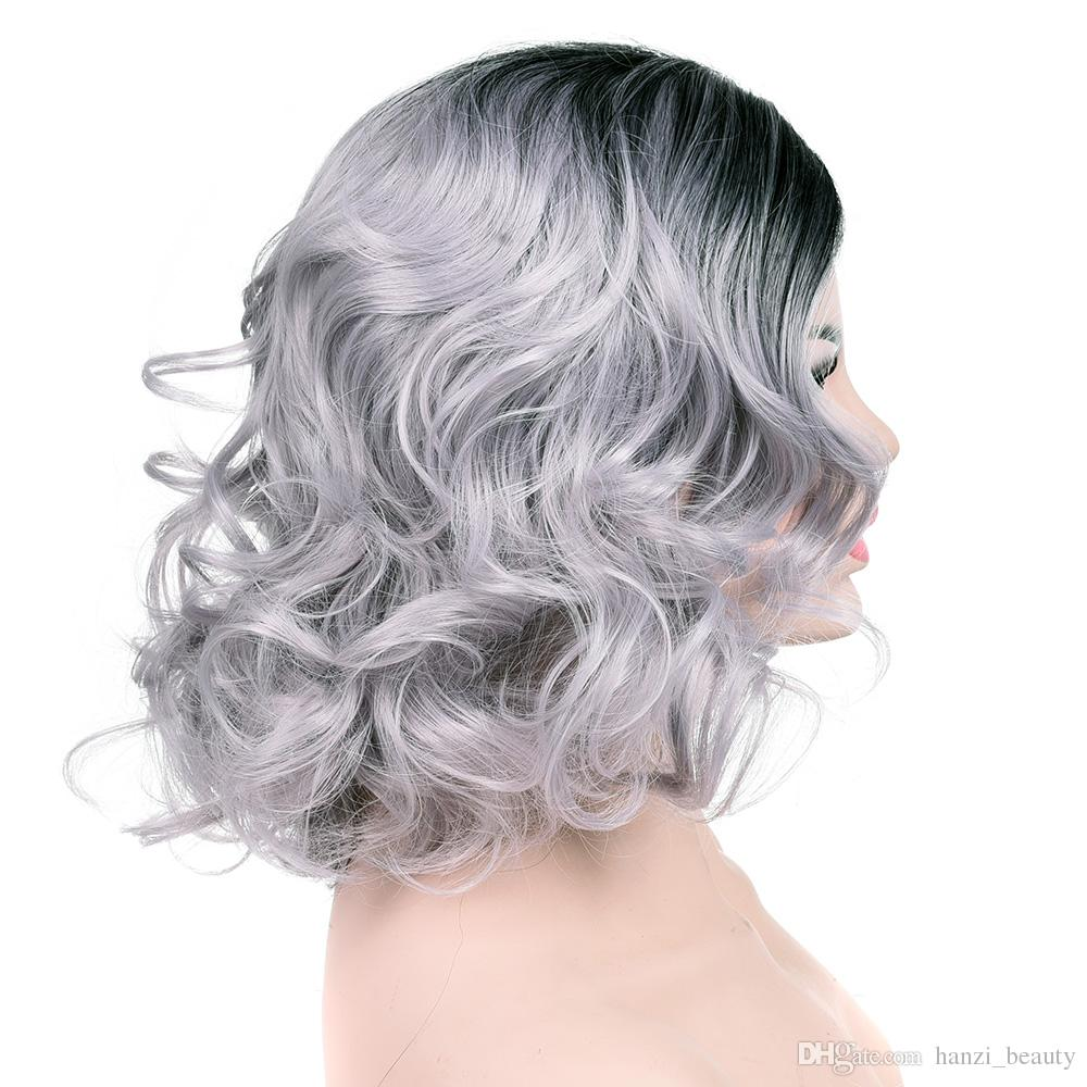 hanzi_beauty Short Curly Women Wig Synthetic Hair High Temperature Fiber Black To Gray Cosplay Wigs Party Grey Hairpieces