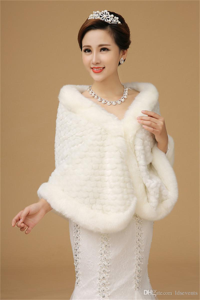 Faux Fur Shrug Estolas Para Fiestas Cape Mariage Crochet Bolero Jacket Wedding Chaquetas Mujer Bridal Shawls Winter Wraps Cloak