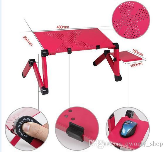 360° Adjustable Vented Laptop Table Portable Bed Tray Book Stand Tablet Foldable Laptop Notebook PC Desk,Black/Red
