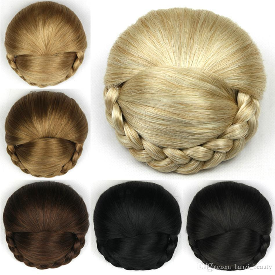 Synthetic Hair High Temperature Fiber Braided Chignon Clip In Hair Bun Donut Roller Hair Piece