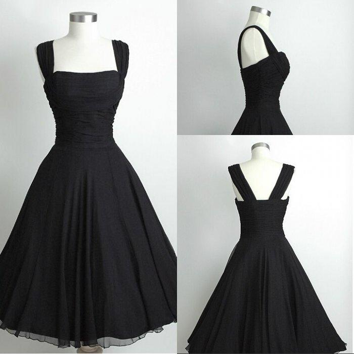 Black Short Chiffon Calf Length Beach Bridesmaid Dress Prom Party