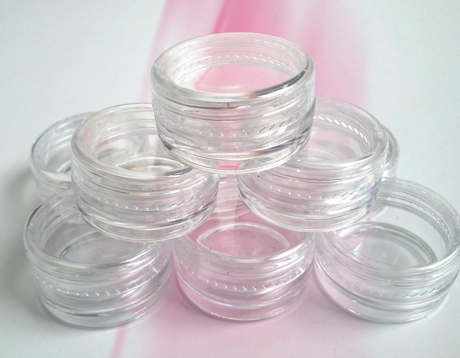5g/ml transparent small round bottle with lid jars pot container clear plastic sample container for nail art storage