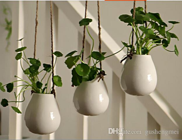 White Ceramic Hanging Planter Vase,ceramic Water Planter Ceramic Terrarium  For Home Decoration Or Housewarming Gift Indoor Garden Home Decoration  Hanging ...