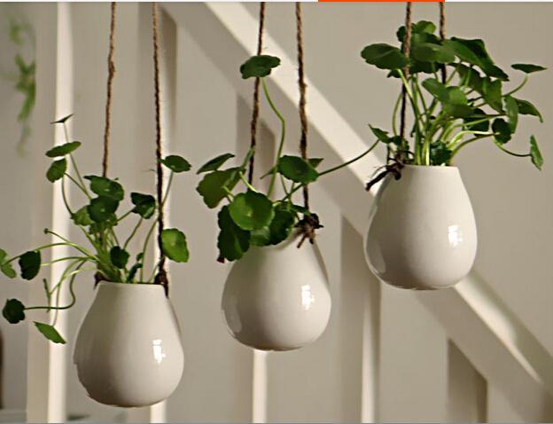 White Ceramic Hanging Planter Vaseceramic Water Planter Ceramic