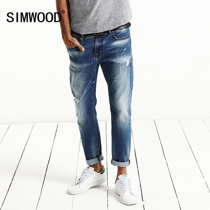 df11533e2c Compre Al Por Mayor SIMWOOD 2017 Otoño Nueva Moda Jeans Hombres Monkey Wash  Pantalones De Mezclilla Slim Fit Más El Tamaño De La Ropa De La Marca De  Alta ...