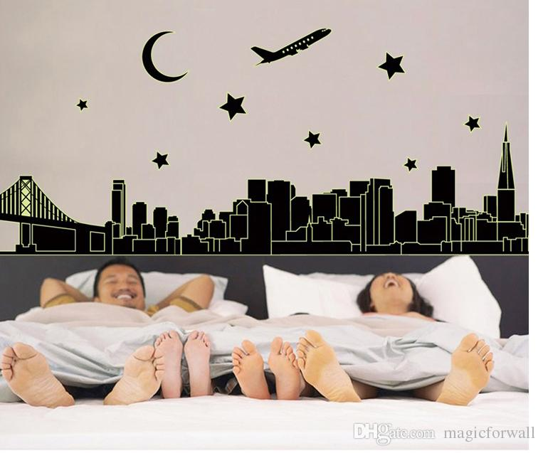 Glow In the Dark NYC New York Skyline Wall Stickers Decal Luminous Downtown Cityscape Stars Moon Airplane Bridge Building Wall Murals Decor