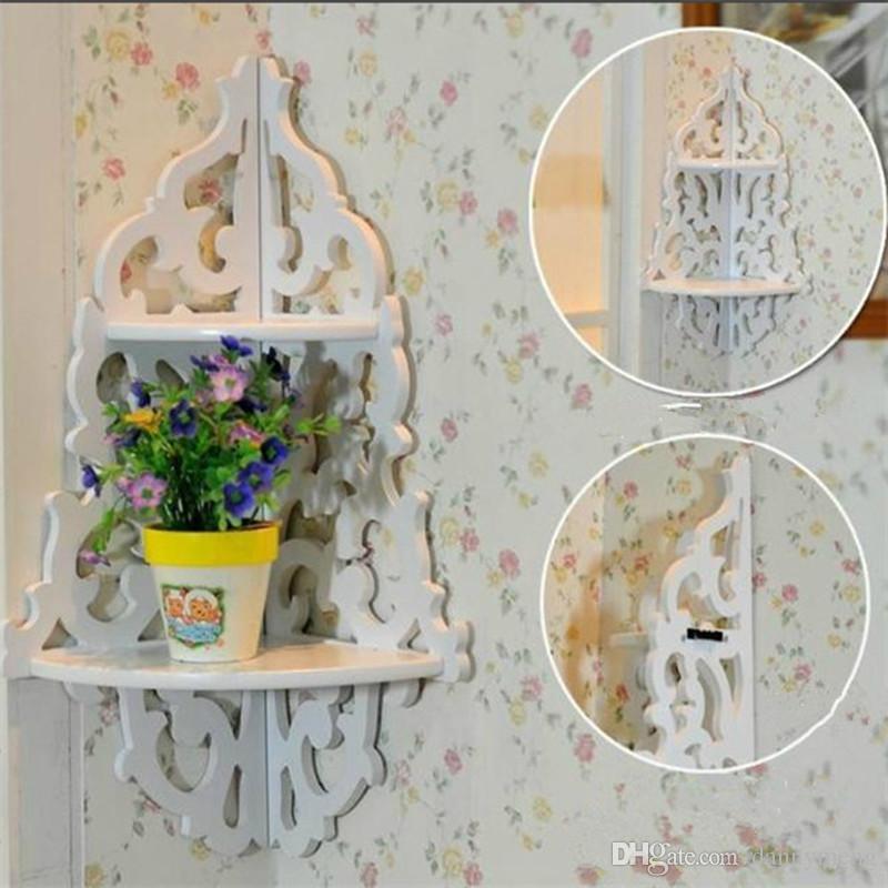 Best White Carved Wall Panels Wall Corner Shelf Storage Rack ...
