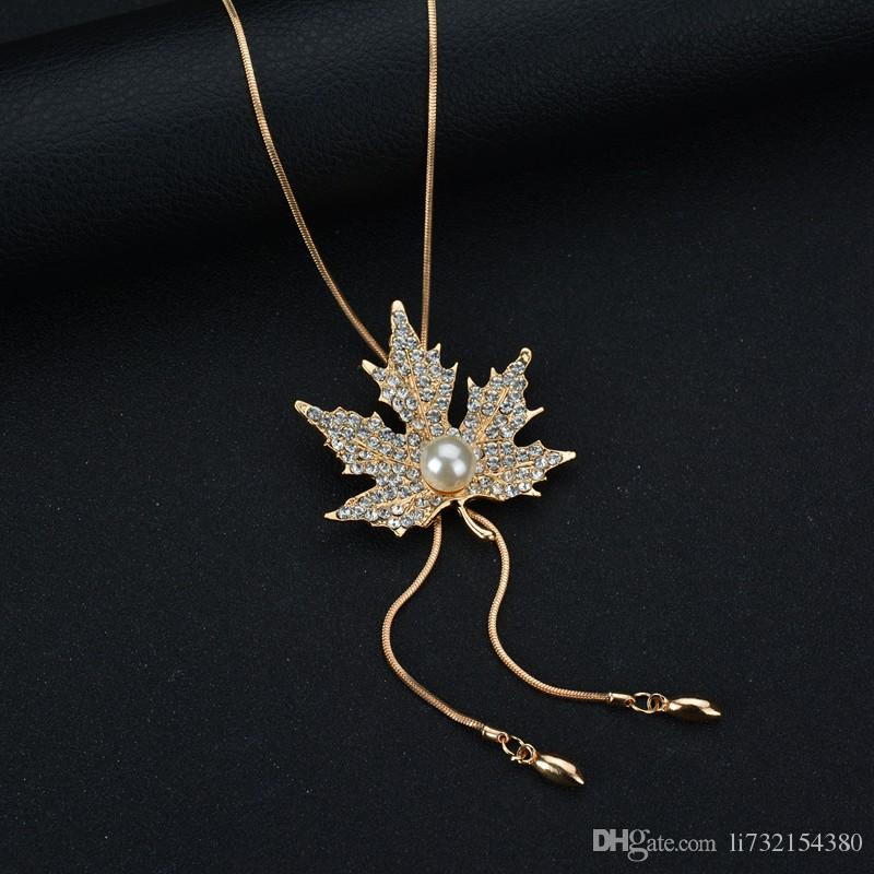 Gold Maple Leaf Ornaments Autumn And Winter Wild Jewelry Sweater Chain Long Paragraph Maple Leaf Necklace Female