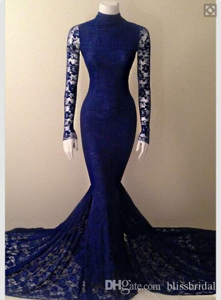 긴 소매 진한 파란색 댄스 파티 드레스 인어 공주 전체 레이스 파티 가운 2016 사용자 정의 만든 우아한 여성 공식적인 드레스