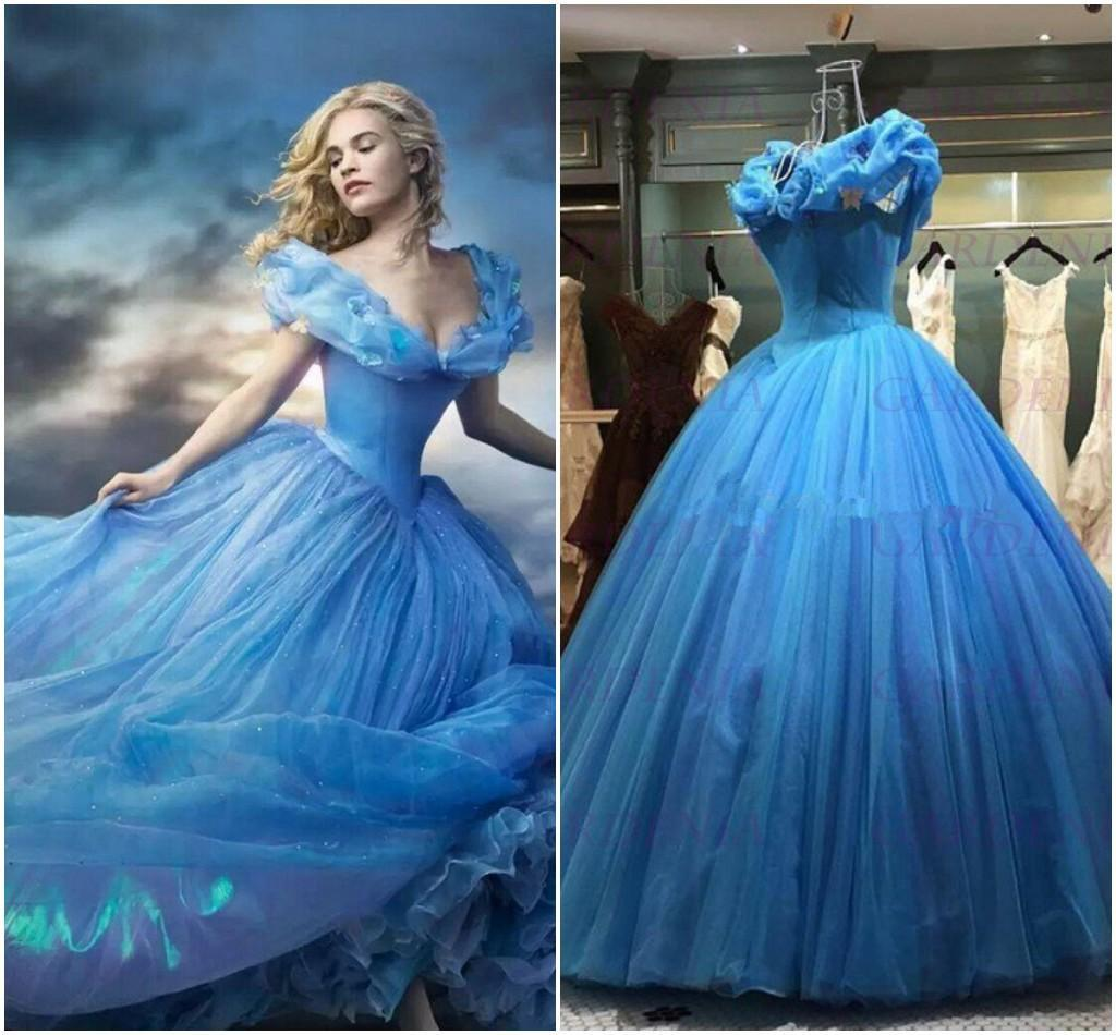 2015 Cinderella Dresses Ball Gown New Fashion V Neck Cap
