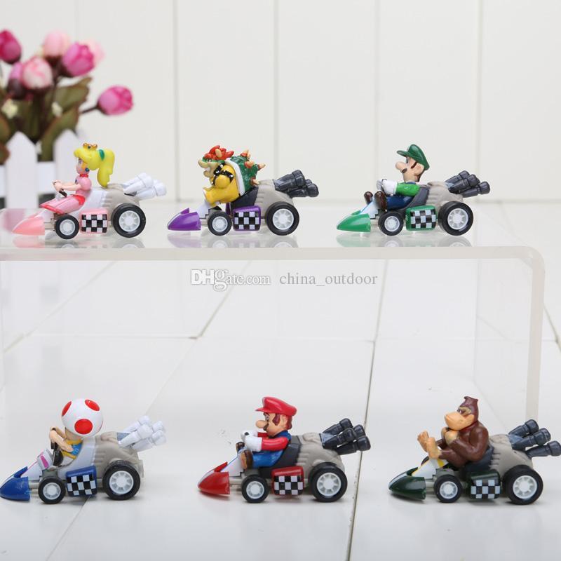 Süper Mario Bros Kart ÇEKME GERİ Araba Rakamlar 6 adet / takım Ücretsiz kargo