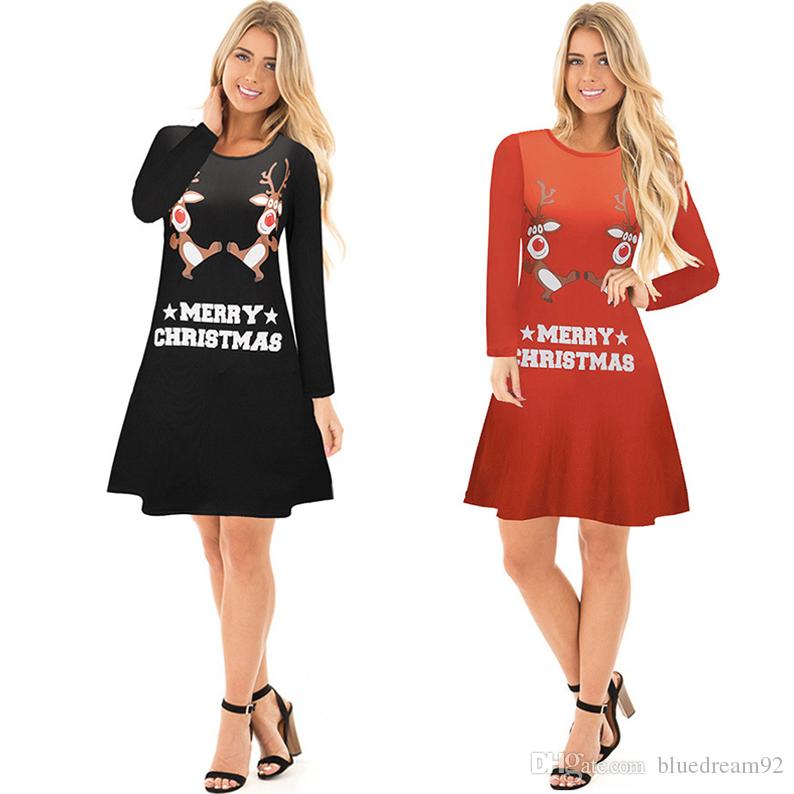 New Christmas Women Dresses Long-sleeved Plus Size Casual Party Dress  Snowman Elk Print Ladies Dresses Christmas Vestidos Womens Clothing  Vestidos Casual ... b10375869ad8