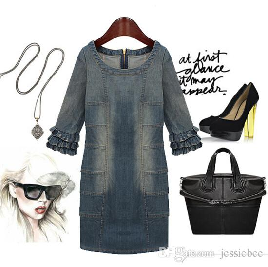 New Summer 2016 Dress Women Clothing Cowboy Dress Casual Fashion Panelled Mini Dress Ladies jeans Dress
