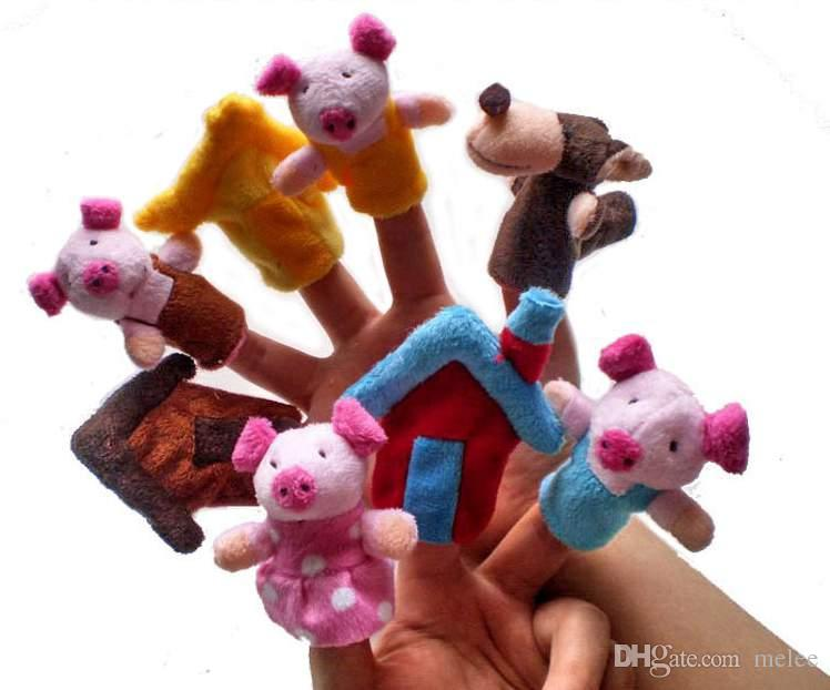 12 Fairy tales finger pupets set Animal Finger Puppet Baby Educational Toys dolls Pigs Tortoise Lions