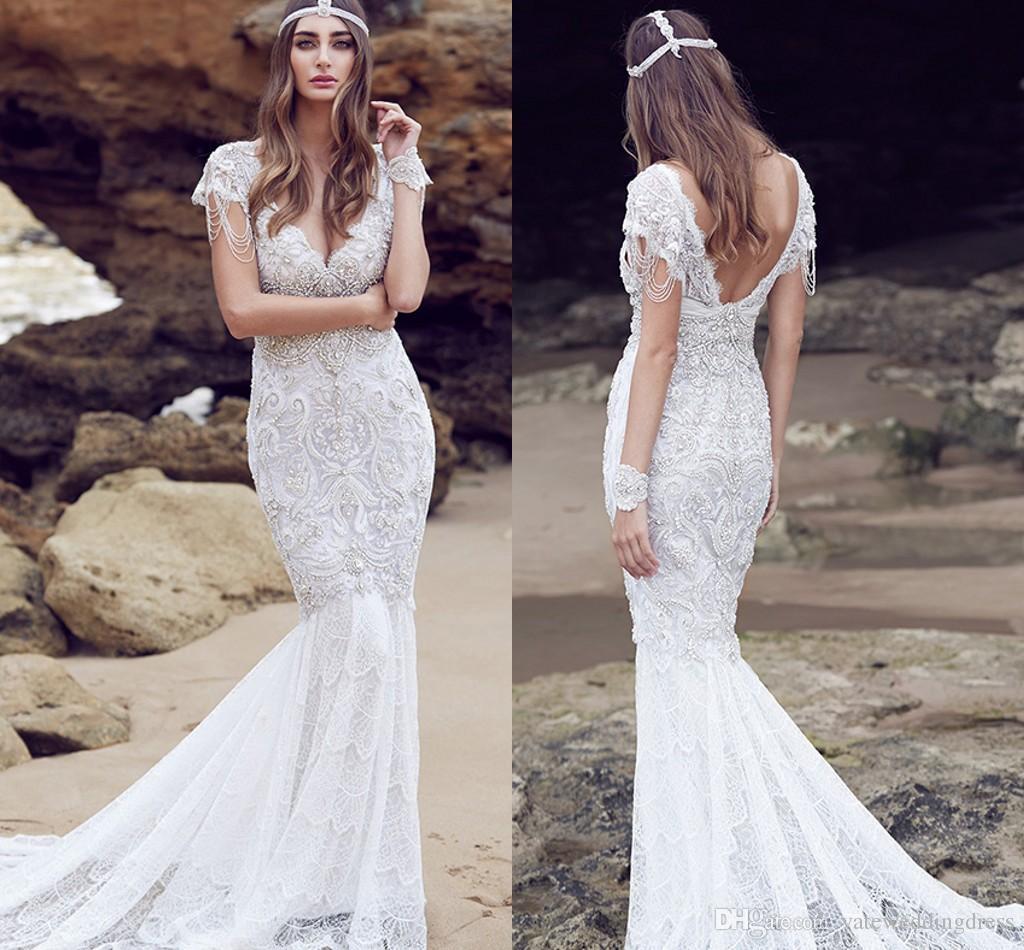 Couture 2016 Mermaid Wedding Dress Heavy Crystals Beaded Beach ...