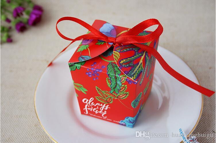 Novo estilo VERMELHO caixa de Caixas de Bombons Da Fita Do Casamento de flores bowknot Caixas de Presente de Casamento de Corte A Laser de Caixas de Favor de Partido TH120