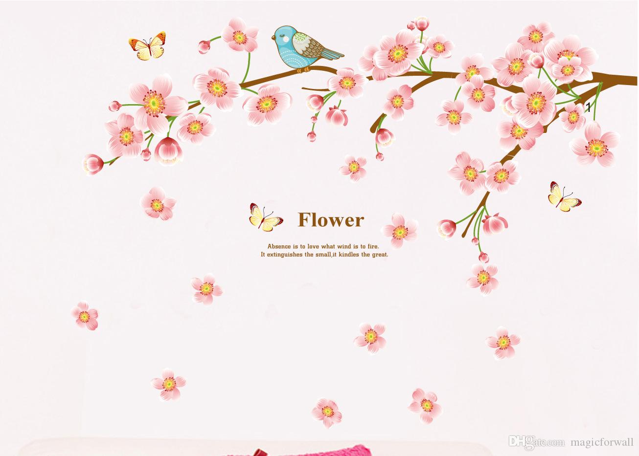 Pink Flower Blossom Tree and Birds Butterflies Wall Decal Sticker Lovely Girl Kids Home Decoration Wall Art Murals Poster
