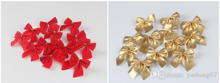 Christmas decorations Christmas tree hang decoration Small bowknot red gold and silver 12 dresses