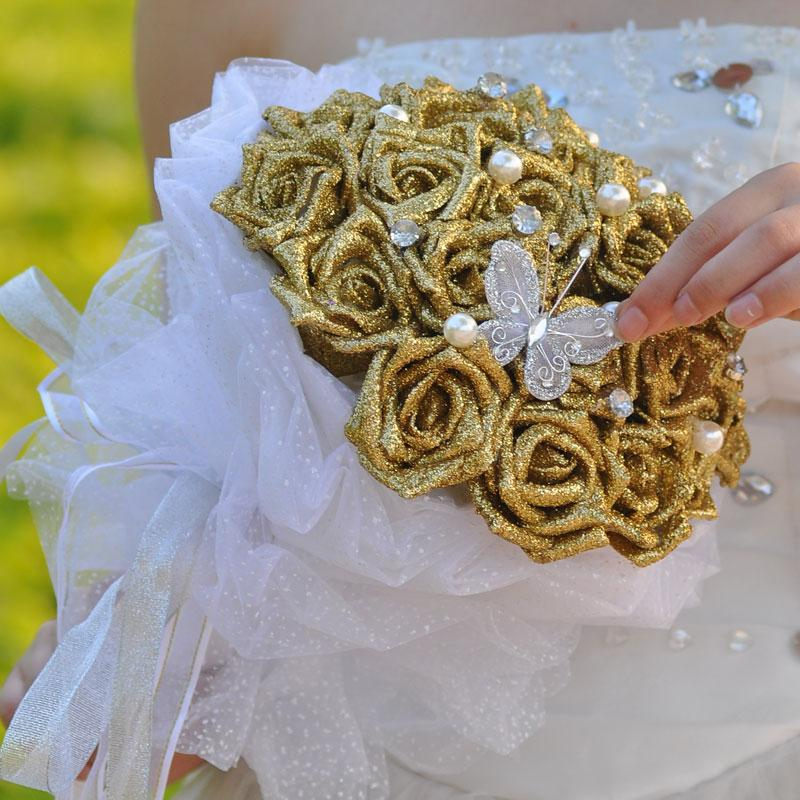2015 New Bridal Gold Wedding Bouquet Wedding Decoration Artificial Bridesmaid Flower Beads Crystal Silk Rose Shiny Sequined 12 Pieces Rose
