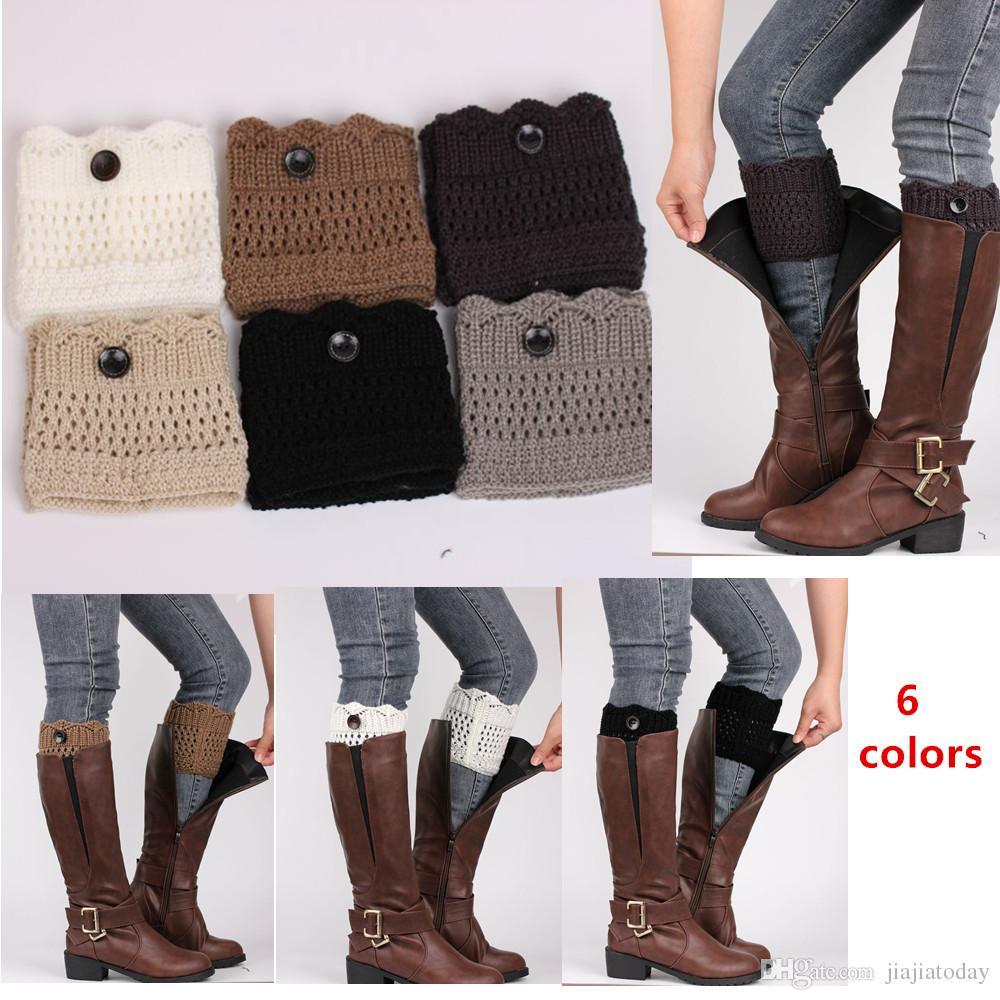e719de413 Invierno cálido mujeres puños de punto calcetines Calcetines calentador de  la pierna con botón de ganchillo calcetines de arranque calcetines ...