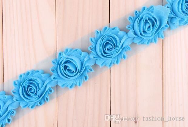 "2.5"" Chiffon Flower Trim Chic Shabby Flower Trim Fraying Rosettes DIY Baby Children Hair Accessories 10 yardBY0000"