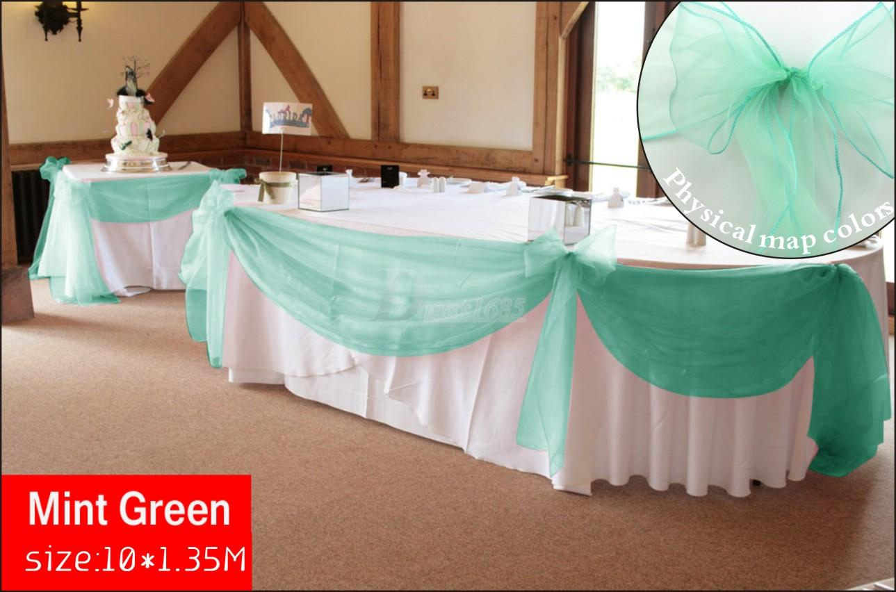 10 M X 135 M Mint Green Top Table Swags Sheer Organza Fabric