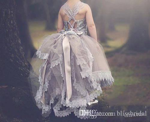Silver grey Ball Gown Lace Flower Girl Dresses FOr Weddings Tulle Tutu Kids Pageant Gowns Backless Layered Party Gowns