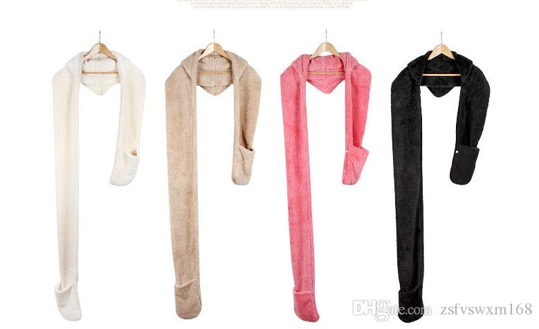 Ms. autumn and winter high collar plush coral cashmere scarves hats gloves one lovely double warm accessories