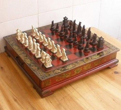 Chinese Chess Set & Leather Wood Box Flower Bird Table Chess Set ...