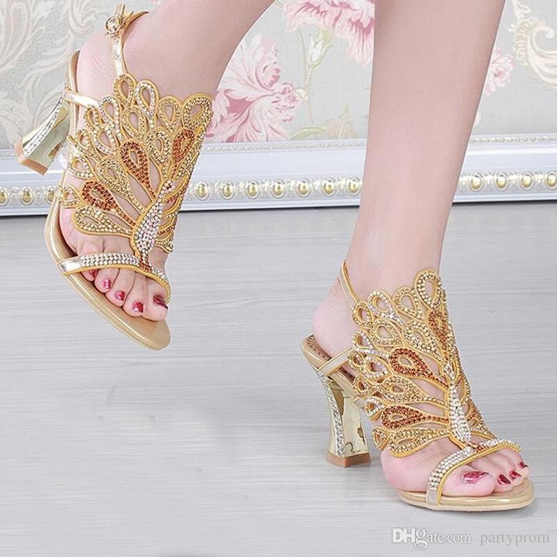 Gold Blue Summer Sandals Rhinestone Chunky Heel Genuine Leather Sexy Wedding Shoes Prom Evening Party Dress Shoes 3 Inches Heels