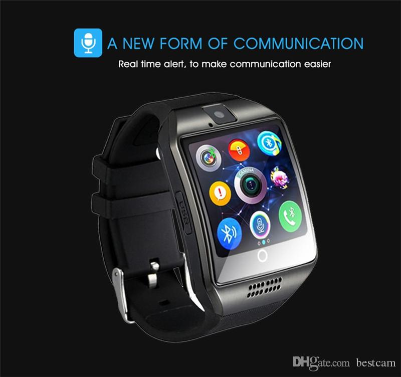 Original Q18 Bluetooth Smart Watch 1.54 '' LCD Salute SIM Card Fitness Tracker Bracciale pedometro iOS Android Phone