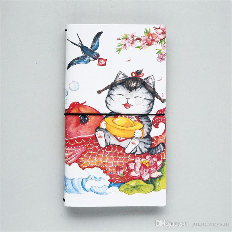 PU Leather Cover Planner Notebook Cat Travel Journal Diary Book Exercise Composition Binding Note Notepad Gift Stationery