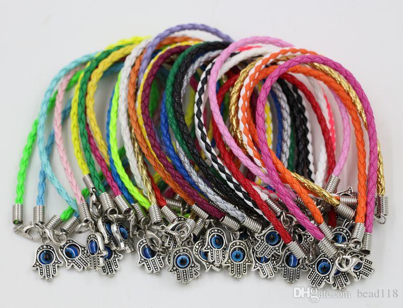 "Hot ! HAMSA HAND ""Turkey eyes"" Mixed Leather Bracelet - Lucky Charm Pendant Bracelet 17 -21cm"