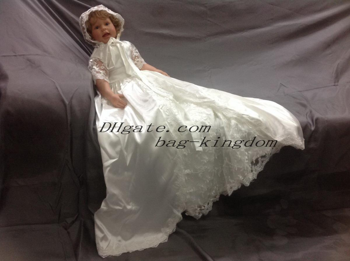 Original Vintage Christening Gown Ivory White Silk with Lace Long ...