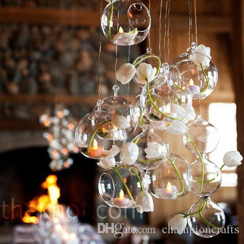 Dia 8cm/10cm glass tealight holder-air plant indoor garden planter,wedding candles
