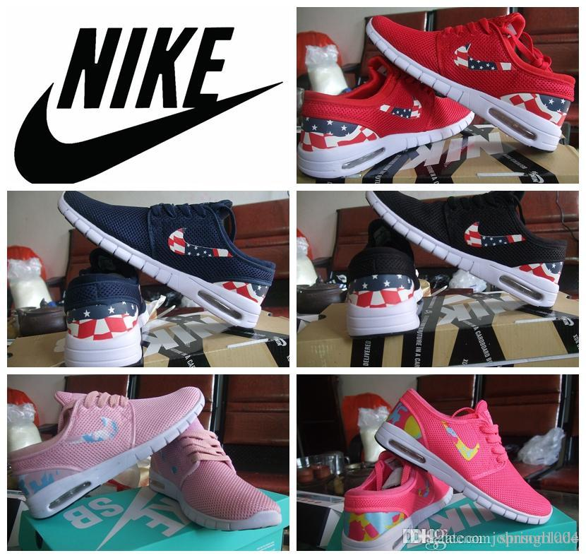 newest 8acfa e0065 Nike SB Stefan Janoski Max Usa Flag Pink Red For Women 2015 Nike Maxes  Running Shoes Nk Brand Ladies Sports Trainers Shoes Best Womens Running  Shoes Running ...