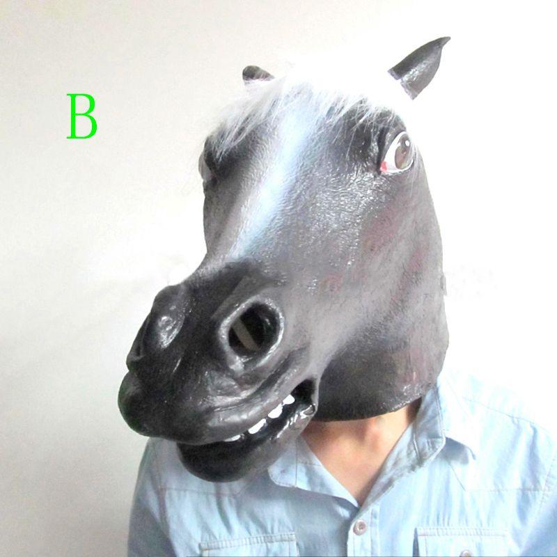 populor funny horse mask full head creepy mask halloween latex cartoon mask horror animal mask theater prop scary masks cheap venetian masquerade masks - Creepy Masks For Halloween