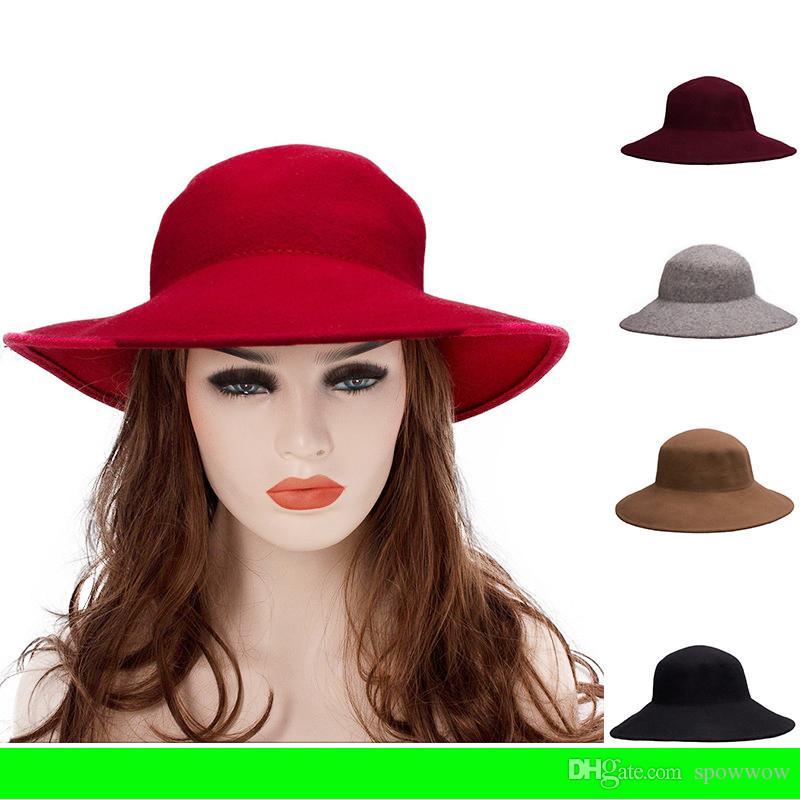 Stylish 100% Wool Felt Unisex Floppy Wide Brim Wedding Church Dress Hat  Casual Cloche Fedora T286 Hats For Men Sun Hats From Spowwow 09da80edfdb