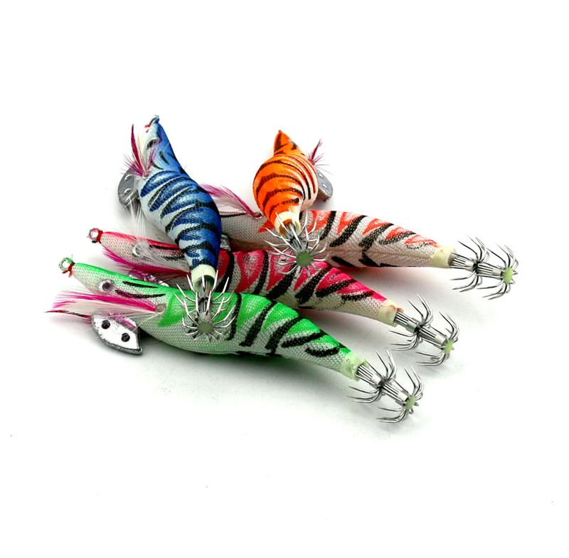 NEW lifelike Shrimp Artificial Wooden squid bait 11.5cm 14g 3.0# Night Fishing Fluorescent tail octopus lure hook
