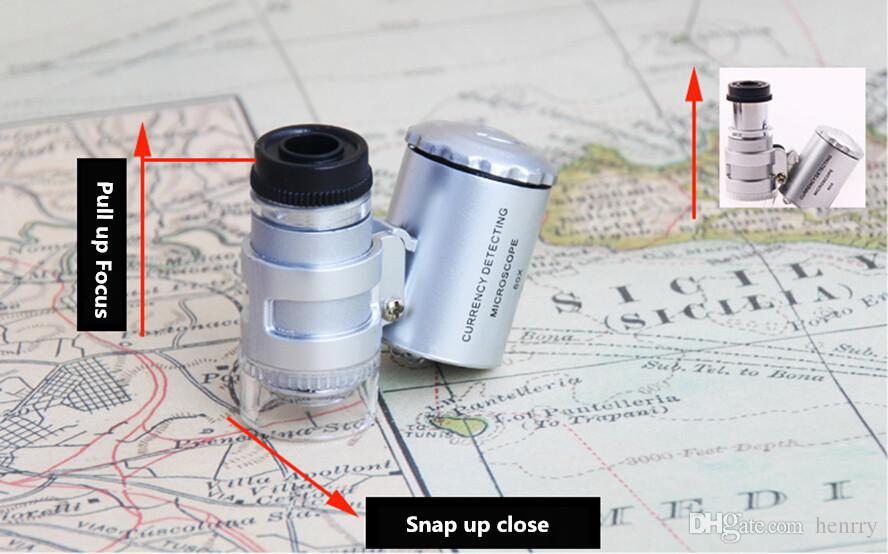 Identification of pocket 60 times magnifying glass microscope equipment with miniature LED light UV money detector lens eyepiece 9882