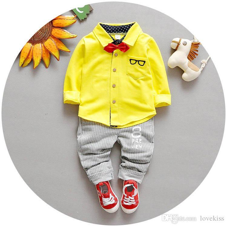 children's clothing Sets Children Suit Boys Outfit bow tie shirt+ stripe casual pants Toddler Newborn Set Baby Wear LH09