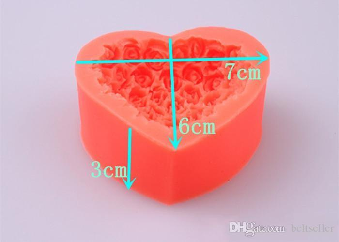 3D Silicone Rose flower Cake molds heart shaped chocolate candy Molds Soap Ice cake molds baking molds for valentine's day gifts