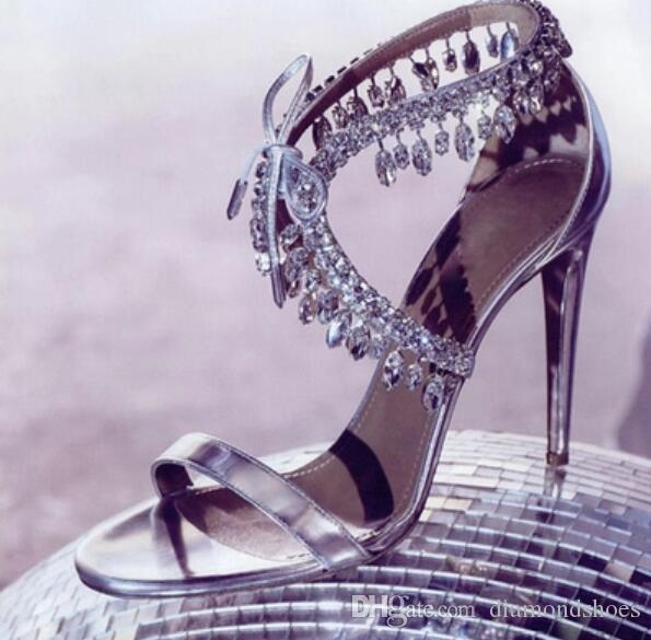 2017 novas mulheres sapatos de festa de diamantes sandálias tira no tornozelo sexy de salto alto sapatos de casamento de cristal dedo aberto sandálias gladiador fino salto 10 cm