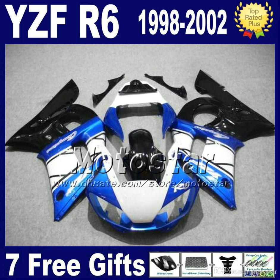 무료 배송 세트 YAMAHA YZF-R6 세트 1998-2002 YZF 600 YZFR6 98 99 00 01 02 블랙 블루 화이트 페어링 바디 키트 VB76