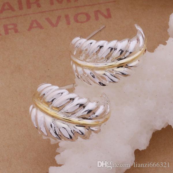 Мода производитель ювелирных изделий 40 шт. много разделения перо серьги стерлингового серебра 925 ювелирные изделия заводская цена мода блеск серьги