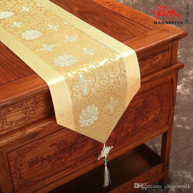 Marvelous Overlength 120 Inch Luxury Patchwork Holiday Table Runner Chinese Knot Silk  Printed Decoration Table Cloth Classic Bed Runners L300*w33 Cm Green Table  ...