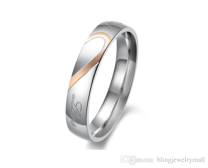 His And Hers Promise Ring Sets Korean Couple Stainless Steel Engagement Wedding Rings For Woman Man Love Jewelry