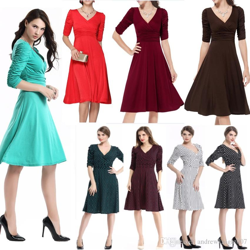bc5585298676 Women Vintage Rockabilly Swing Dress Elegant Ruched Retro Casual Tunic  Evening Party Sexy Office Dresses Juniors Party Dress Womens Sun Dress From  ...